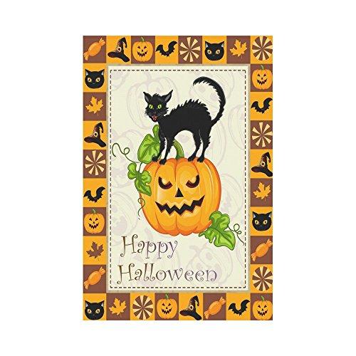 InterestPrint Halloween Theme Black Cat on Pumpkin Polyester