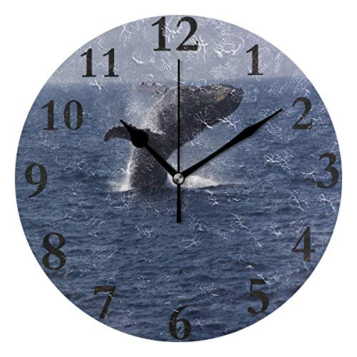 Dozili Black Whale Round Wall Clock Arabic Numerals Design Non Ticking Wall Clock Large for Bedrooms,Living Room,Bathroom