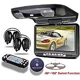 XTRONS Black 9 Flip Down Monitor Overhead Car DVD Player with Built-in FM&IR Transmitter IR Headphones