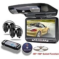 XTRONS® Black 9 Flip Down Monitor Overhead Car DVD Player with Built-in FM&IR Transmitter IR Headphones
