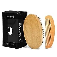 Beard Brush & Comb Kit for Men, Becoyou Wooden Hair Comb and Natural Boar Bristle Beard Brush Kit with Storage Bag for Men Beard & Mustache