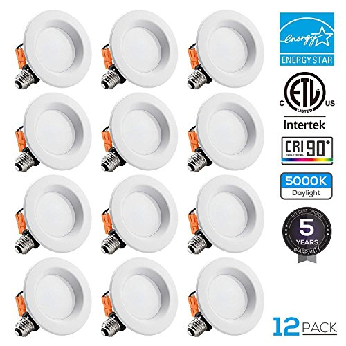 TORCHSTAR 12-Pack 4 inch Dimmable Recessed LED Downlight, 10W (65W Equivalent), CRI 90+, Energy Star, 5000K Daylight, 700lm, LED Retrofit Lighting Fixture, 5 Years Warranty by TORCHSTAR