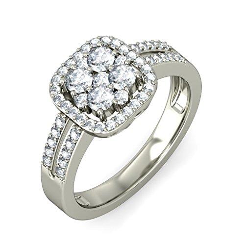 14K Or blanc, 0,68carat Diamant Taille ronde (IJ | SI) en diamant