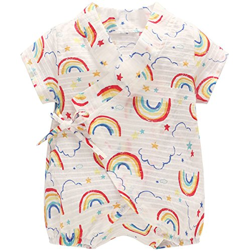 - DGAGA Newborn Baby Kimono Robe Organic Cotton Infant Short Sleeve Romper Pajamas(Rainbow/6-9M)