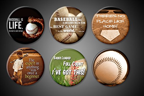 Baseball game magnets and pins Collections set of 6 Babe Ruth Quotes Baseball is Life Best Game Love the Game For fridge locker jackets bags Pinbacks Magnets (Magnets, 1 inch (Baseball Locker)