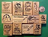 Quality Custom Rubber Stamps Teacher's German/English 12-Piece Rubber Stamp Assortment Carved Wooden Stamps
