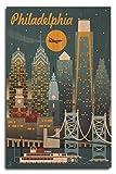 Lantern Press Philadelphia, Pennsylvania - Retro Skyline (10x15 Wood Wall Sign, Wall Decor Ready to Hang)