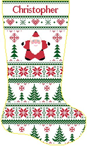 (Pattern Only Cross Stitch Christmas Stocking Band Santa and Christmas Trees with Name)