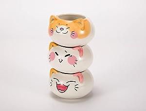 3 PCS Cute Kitten Planter Pots,Mini Ceramic Succulent Plant Flower Pot for Home Garden Office Desk Small Ornament