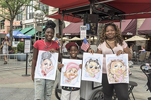 24 x 36 Giclee print of Shanice Royal and Marquita Harris the caricatures just completed by sketch artist Ben Bloss in the mile-long 16th Street pedestrian mall in downtown Denver Colorado. - Malls In Downtown Denver