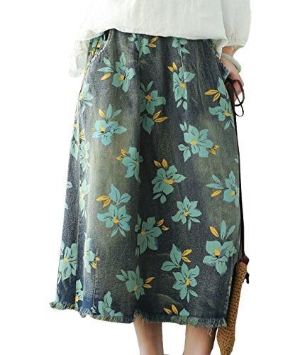 YESNO Women Casual Loose Floral Denim Skirt Elastic Waist Fringed Hem Below Knee Length/Pocket Y58