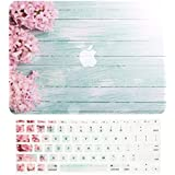 "TOP CASE – 2 in 1 Bundle Deal Floral Pattern Rubberized Hard Case + Keyboard Cover Compatible with Apple MacBook Air 11"" (11"" Diagonally) Model: A1370 / A1465 - Pink Hyacinth Turquoise Wooden"