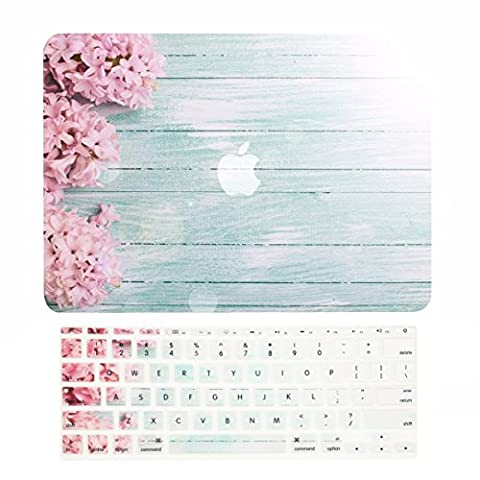 TOP CASE – 2 in 1 Bundle Deal Floral Pattern Rubberized Hard Case + Keyboard Cover for MacBook Air 11