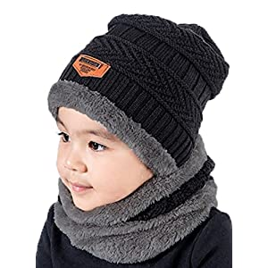 T WILKER 2Pcs Kids Winter Knitted Hats+Scarf Set Warm Fleece Lining Cap for 5-14 Year Old Boys Girls
