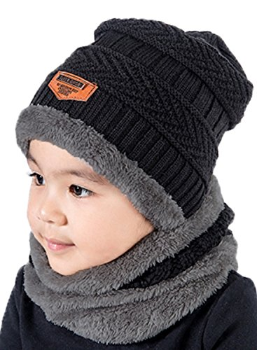 (T WILKER 2Pcs Kids Winter Knitted Hats+Scarf Set Warm Fleece Lining Cap for 5-14 Year Old Boys Girls Black )