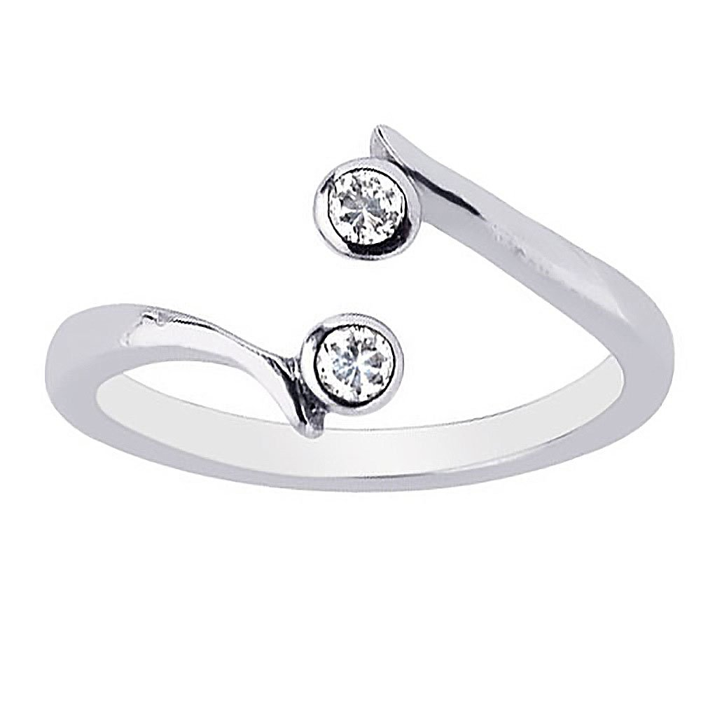 Ritastephens Sterling Silver 2 Cubic Zirconia Crossover Adjustable Ring or Toe Ring