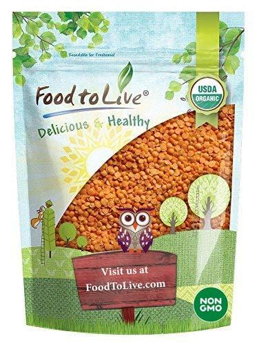 Organic Red Split Lentils 8 Ounces  Dry Beans NonGMO Kosher Raw Masoor Dal Bulk