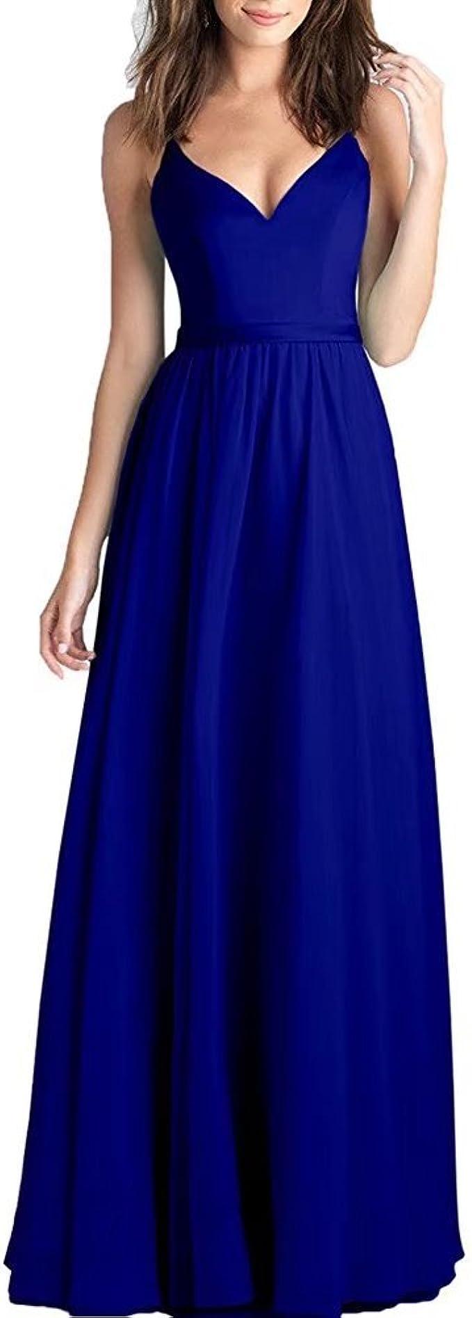 A-Linie Abendkleid Langes Damen Sommer Chiffon Langes Kleid V-Ausschnitt  Spaghetti-Träger Brautjungfer Kleid