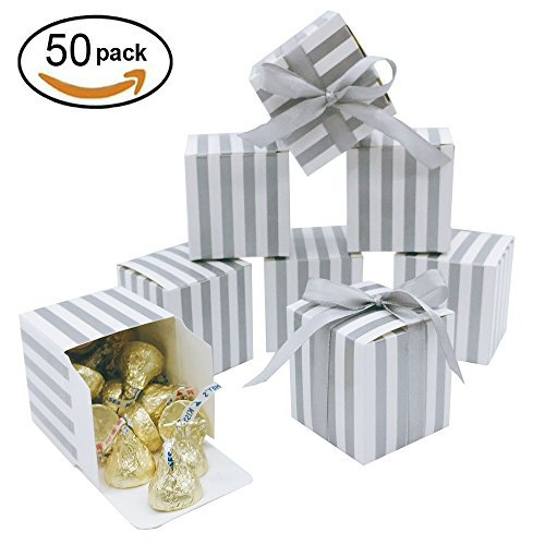 Mini Silver Square Candy Treat Boxes Bulk with Ribbon White Silver Strips Gift Box for Wedding Favors Baby Shower Birthday Party Supplies 2x2x2 inch 50pc