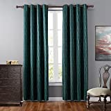 Leyden (1 Panel) Thermal Insulated Grommet Top Striped Jacquard Curtains / Drapes for Bedroom( 52 wide x 63-inch length, Green)