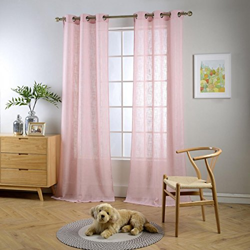 Miuco Semi Sheer Curtains Poly Linen Textured Solid Grommet