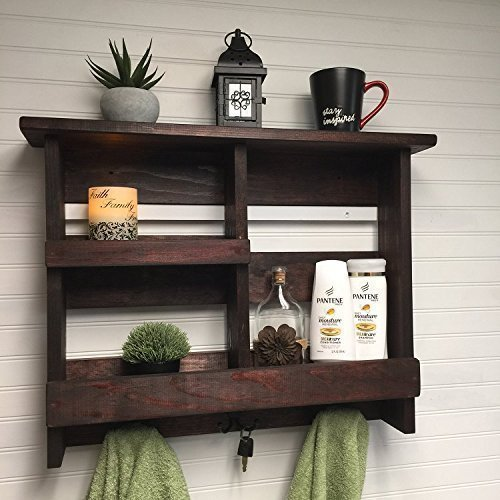Bathroom shelf with double hooks, bathroom storage, rustic bathroom shelf with metal hooks, rustic bathroom decor