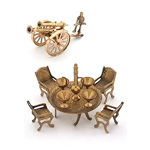 Little India Combo Of Brass Dining Raja Set And Brass Canon Brown