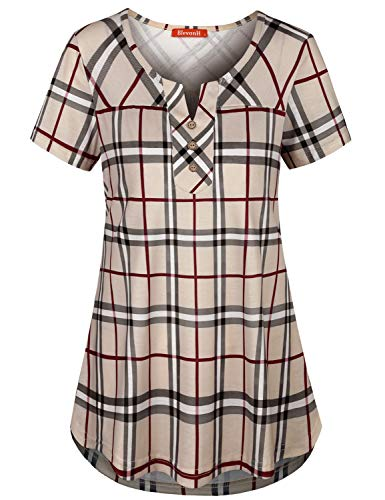 (Work Shirt Women ,Blevonh Juniors Short Sleeve Loose Fit Office Tunic Notch V Neck Comfort Figure Flattering Trapeze Beauty Stretchable Business Casual Blouse XXL Beige Plaid)