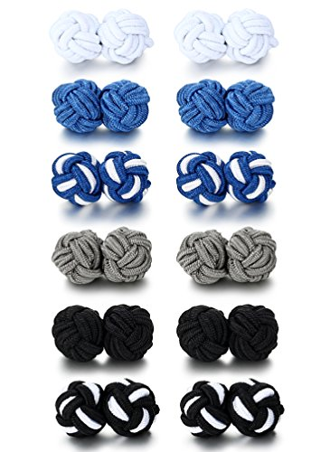 Silk Mens Cufflinks - Jstyle Silk Knot Cufflinks for Men Women Shirt Unique Vintage 6 Pairs a Set