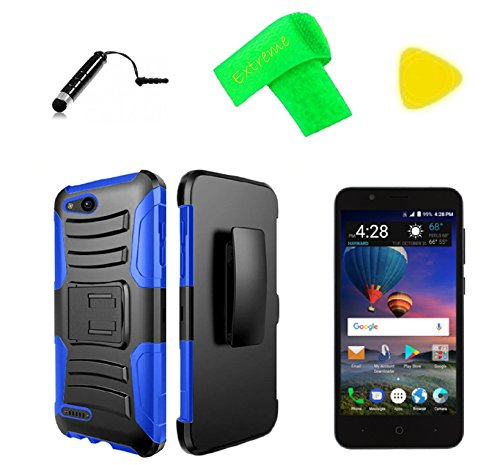 Faceplate Blue Clip Belt (Belt Clip Holster + Hybrid Protector Cover Phone Case + Screen Protector + Extreme Band + Stylus Pen + Pry Tool For ZTE ZFive G C Z557BL Z558VL (Clip Black Blue))