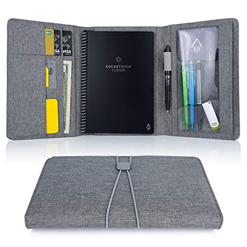 Folio Cover for Rocketbook Everlast, Wave, Executive Size, Water-resistant Fabric, Multi Organizer with Pen Loop, Zipper…