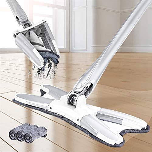 ハンズフリーモップ交換用布手洗いなし360度清潔度家庭用フローリングレイジーモップアーティファクト1個-ホワイトシルバー