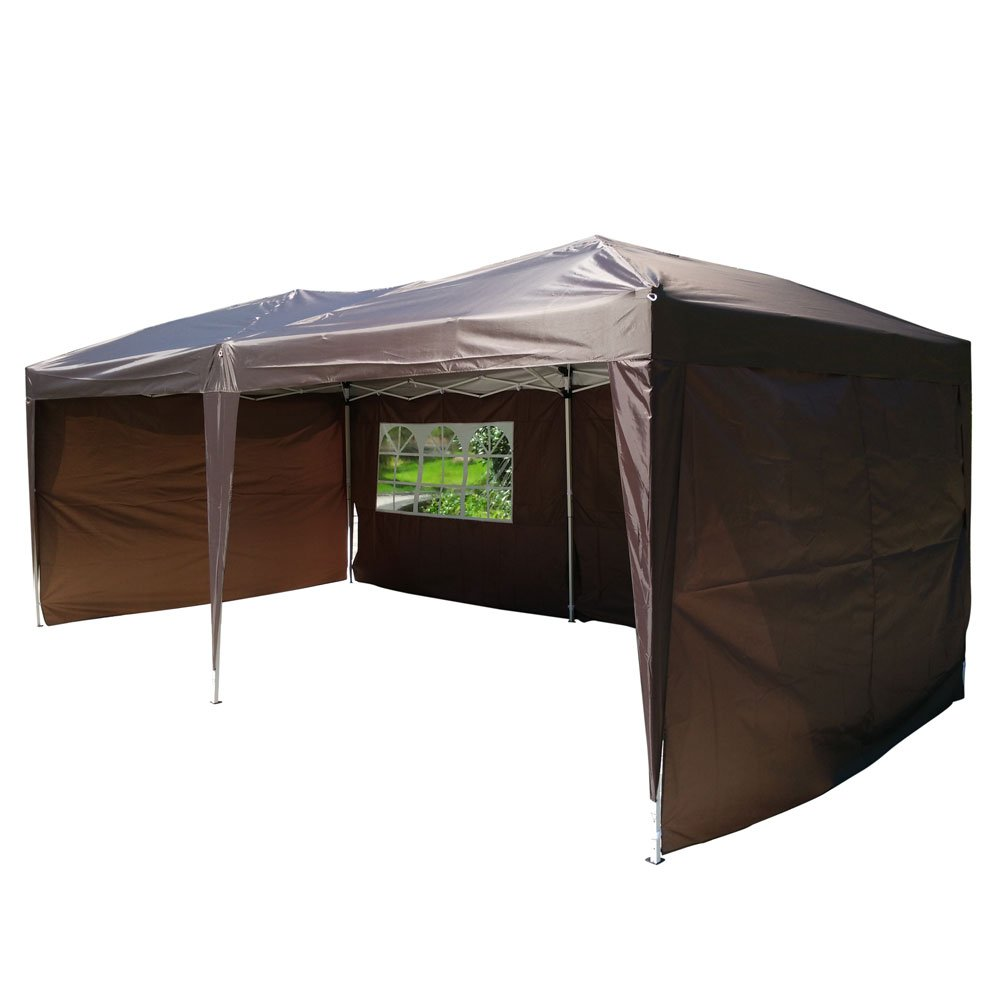 Z ZTDM 10'x 20' Easy POP up Wedding Event Party Tent Folding Gazebos Beach Canopy Screen Sun Shelters Houses with Carrying Bag, brown w/ 4 sidewalls 2 windows