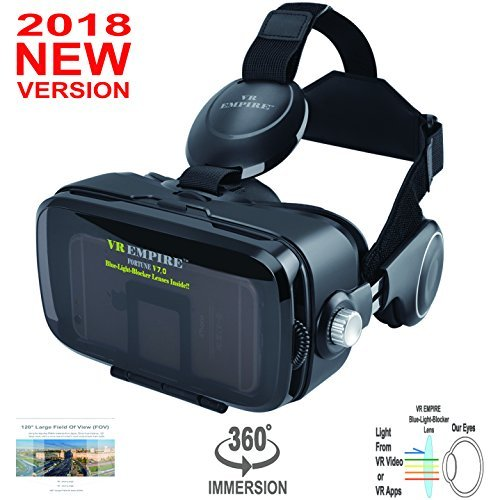 VR Headset; Anti-Blue-Light Lenses; 120° FOV; Stereo Headset; phone answering button; Virtual Reality Glasses VR Goggles Fit For 4.0-6.2 inch Smartphone (V7.0-Anti-blue-5Black-NO RC) ()