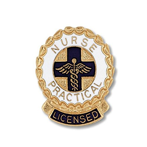 EMI Lincensed Practical Nurse (LPN) Emblem Pin - ROUND (Wreath Edge) Round Wreath Pin