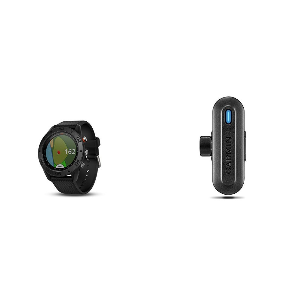 Garmin Approach S60 GPS golf watch with black silicone band and TruSwing Golf Club Sensor Bundle