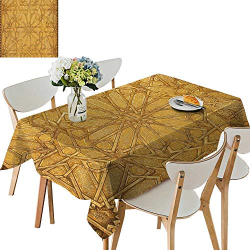UHOO2018 Square/Rectangle Polyesters Tablecloth Intricate Metal Filigree on a gate to The Palace The k Morocco Wedding Party,50 x108inch