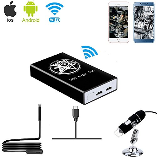Jiusion Wireless Wifi Box Compatible with iPhone iPad Android Phone Tablet, Micro USB/USB to WiFi Converter for USB Digital Microscope Endoscope Borescope Mini Magnification Camera by Jiusion