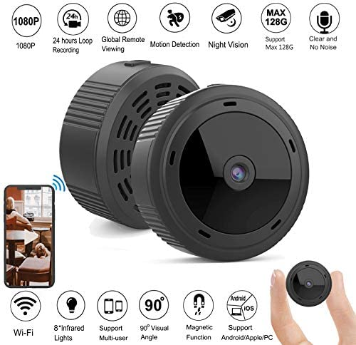 Gurmoir Mini Spy Camera Hidden Cam. Remote Wireless 1080P Spy WiFi Camera with Night Vision Motion Detection,Nanny Cam Security Cam for Indoor Outdoor Home Office with iPhone Android PC App
