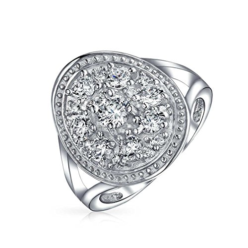 (Vintage Style Fashion Large Oval Pave Cluster CZ Engagement Statement Ring For Women For Teen 925 Sterling Silver)