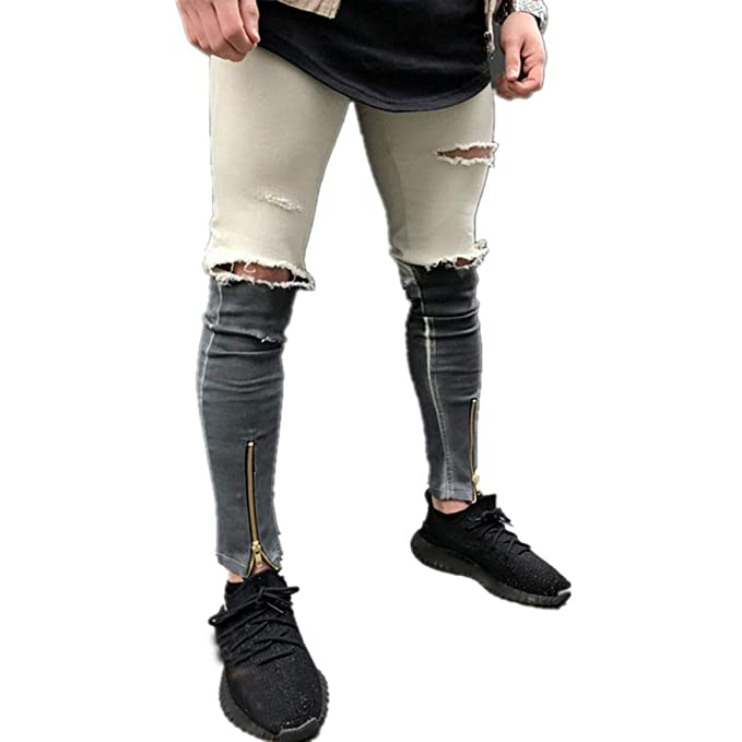 Clearance Sale Mens Slim Ripped Fit Fashion Vintage Contrast Cotton Denim Jeans Hiphop