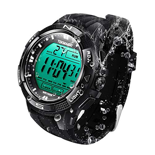 Sports 100m Watch (TEKMAGIC 10 ATM Digital Submersible Diving Watch 100m Water Resistant Swimming Sport Wristwatch Luminous LCD Screen with Stopwatch Alarm Function)