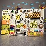 SK-1 European Quality. Handmade Wooden Busy Board | Clever Puzzles | Locks and Latches Activity Board | Sensory Board | Montessori Board (White)