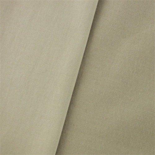 Khaki Beige Cotton Stretch Sateen, Fabric by The (Stretch Sateen Fabric)