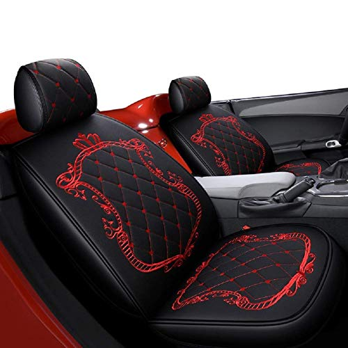 FUNF Crown Car Seat Covers, Fully Surrounded Unisex Seat,Winter Leather Seats Car,PU Leather and 3D Breathable Fabric (Color : Black-red):