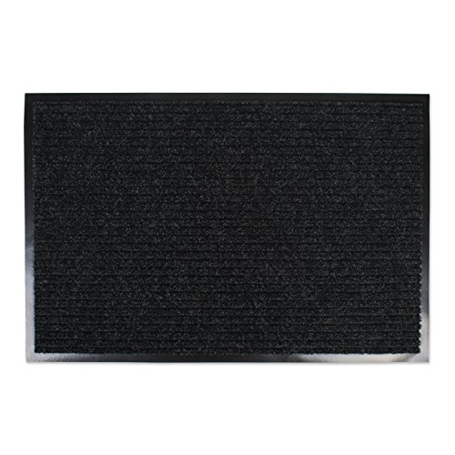 Rug Rain Black (J&M Large Utility Doormat Heavy Duty Durable Indoor/Outdoor Ribbed and Waterproof 30x48