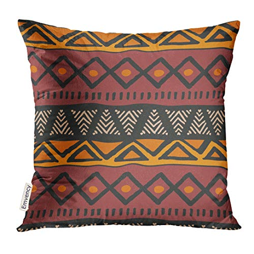 UPOOS Throw Pillow Cover Brown Abstract Tribal Ethnic Colorful Bohemian Pattern with Geometric African Mud Cloth Design Red Aztec Boho Decorative Pillow Case Home Decor Square 18x18 Inches Pillowcase