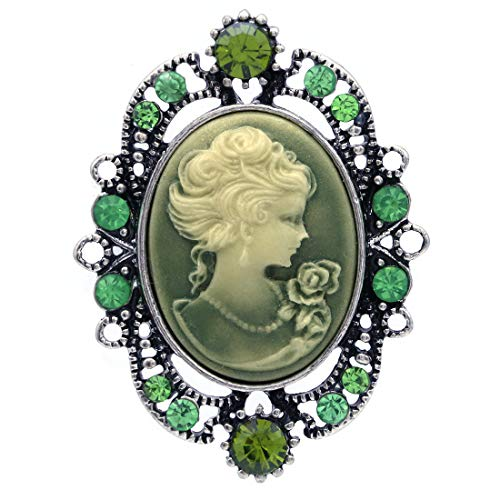 Soulbreezecollection Cameo Brooch Pin Charm Women Necklace Pendant Compatible Rhinestones Fashion Jewelry (Green)