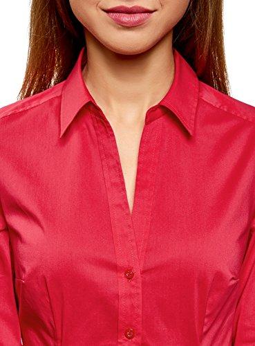 en 4d00n Chemisier V Col Rouge Coton Collection Femme oodji wSqtpp