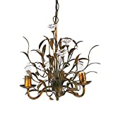 Creative Co-op Flower Chandelier, Gold/Cream